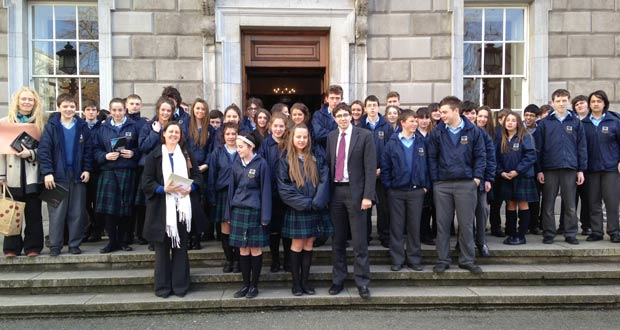 Pupils from Colaiste Chraobh Abhann visited the Dail on Wednesday.