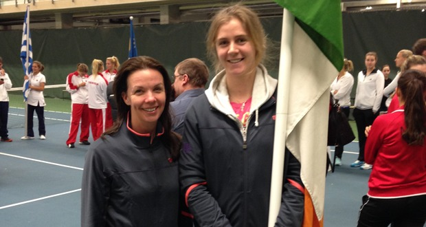 Yvonne Doyle and Amy Bowtell at the opening ceremony of the Fed Cup