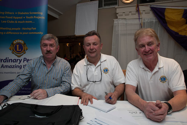 Brendan O'Conor, Maurice Corr and Sean Olohan at the Wicklow Lions club table quiz in the Grand hotel, Wicklow town.