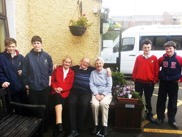 Sean Kehoe, Jordan Sinnott, Eoghan Copeland& Luke Sinnott, Pictured with clients from Wicklow Day Care Centre.