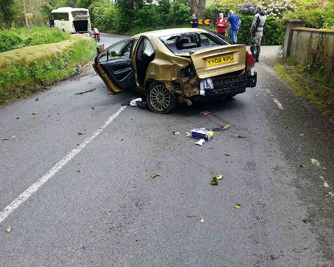 The stolen Volvo which was involved in the crash at Clara Vale