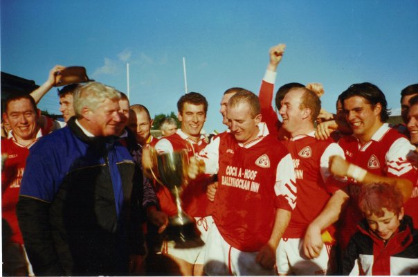 Brian Carney lifting the Junior A championship with Valleymount in 1998.