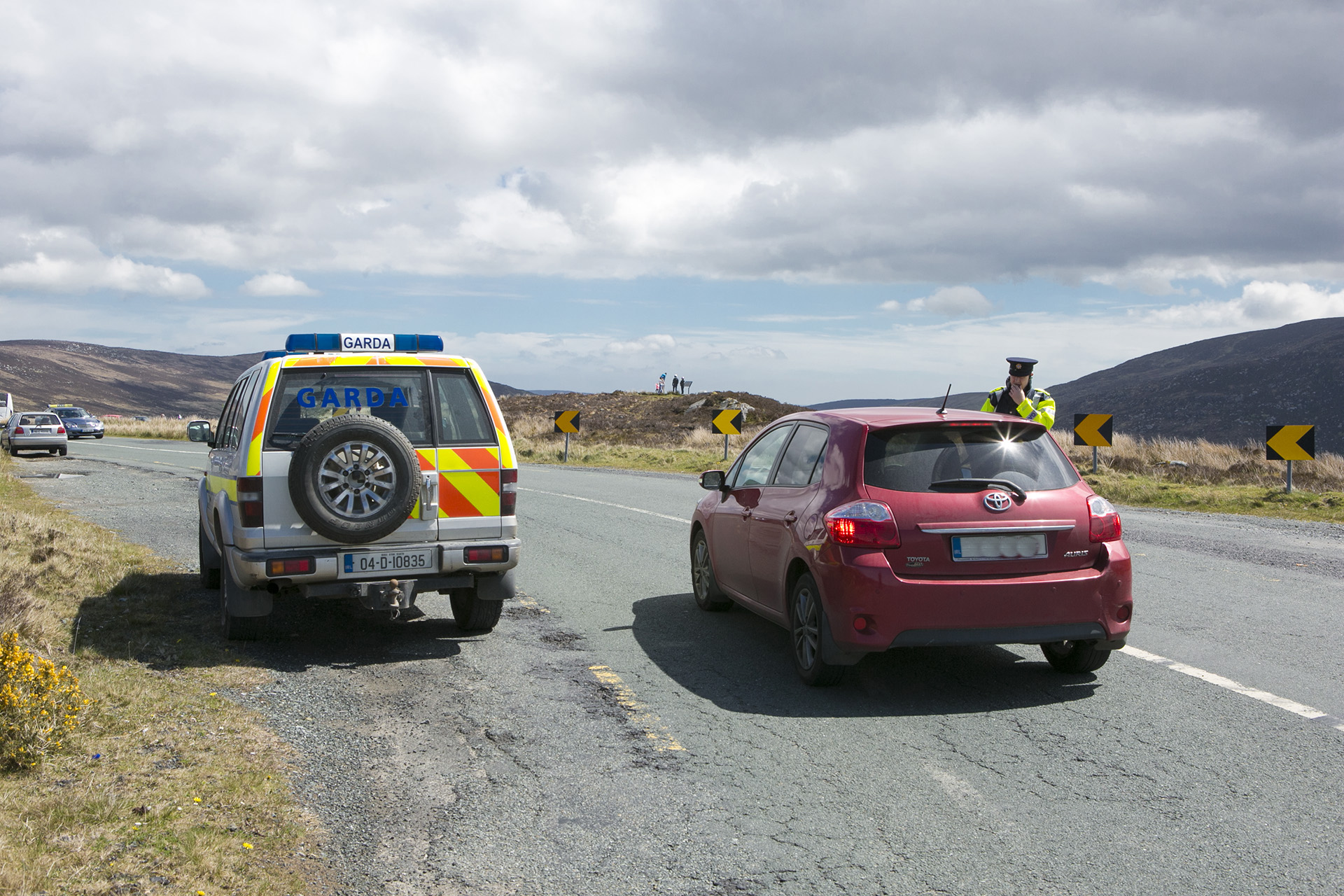 A Garda stopping a motorist as part of Operation Thor