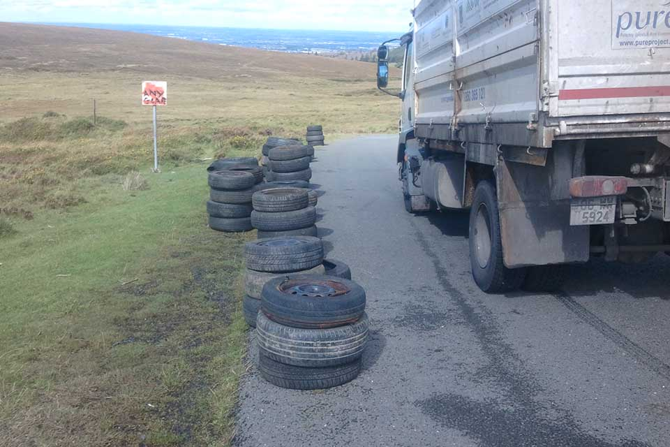 The PURE truck removing tyres yesterday in the national park at Cunard