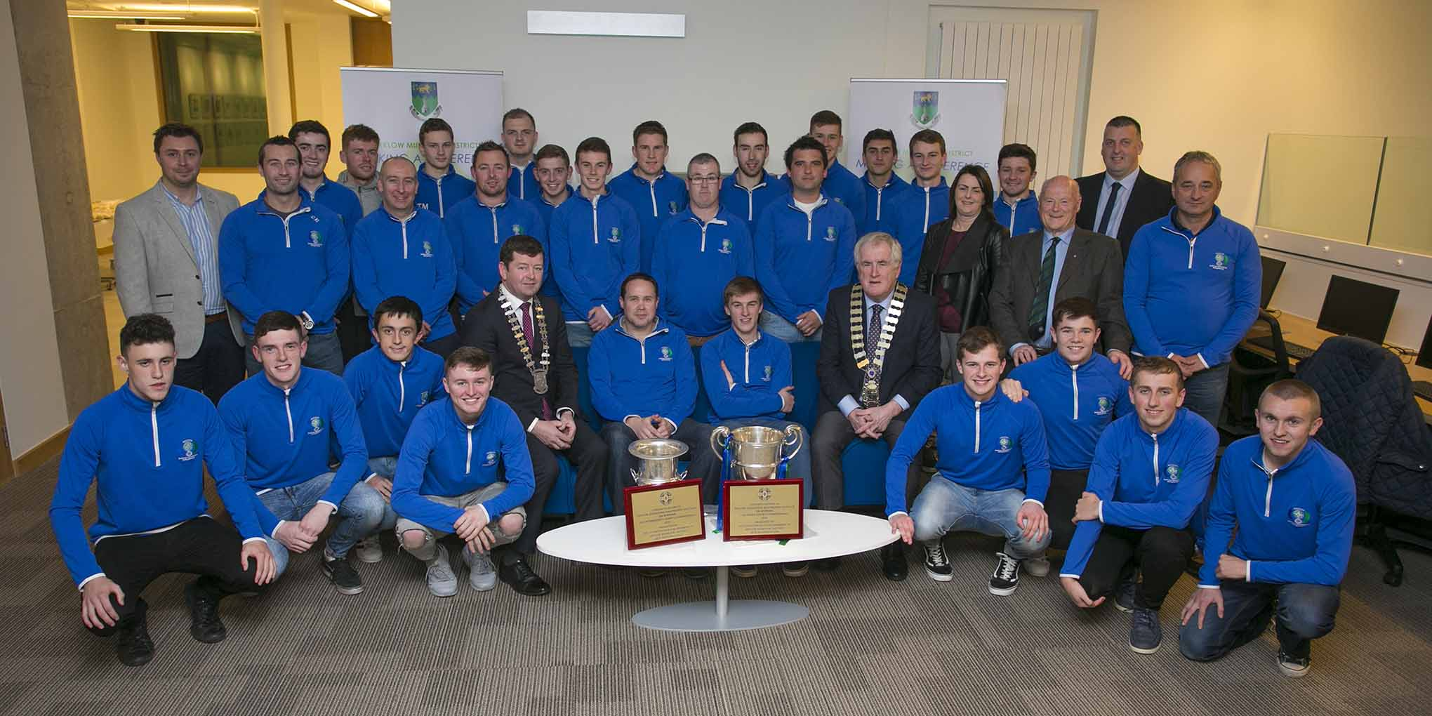 Pictured at the Arklow Municipal District Civic Reception for the Arklow Geraldines Ballymoney GAA club were the Cathaoirleach of Wicklow County Council, Cllr Pat Fitzgerald, and the Cathaoirleach of Arklow Municipal District, Cllr Pat Kennedy, along with players and club officials.