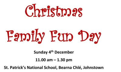 St. Patrick's National School, Bearna Chlé, Johnstown on Sunday 4th December from 11.00am