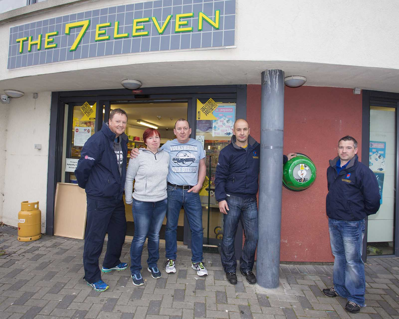 Arklow first responders David Nugent, John Summers and Brian Higgins with Geraldine O'Reilly and Billy Nolan with the new defibrillator which is located 7 eleven, Abbey Street Arklow (Pic.Michael Kelly)