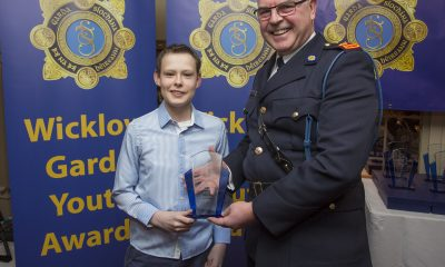Michael O'Brien from Bray recieves his youth award from Superintendant Pat Ward at the 2nd Annual Wicklow Garda Youth Awards which was held in the Grand Hotel, Wicklow Town.