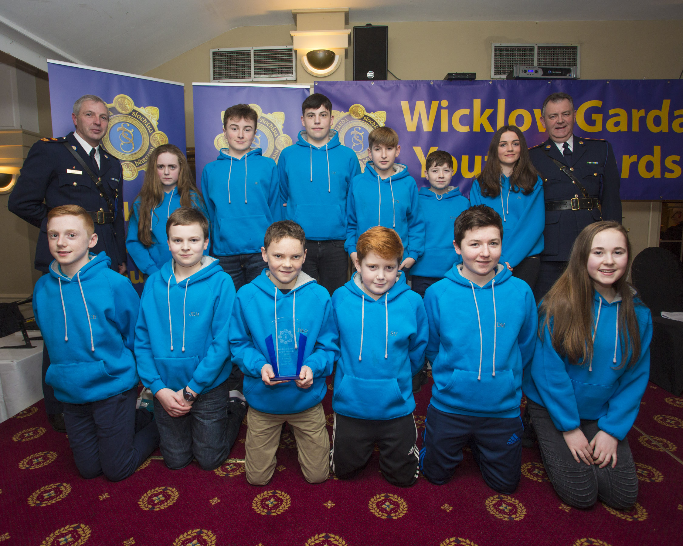 Members of the Glenealy Foroige group recieve their youth award from Superintendant Paul Hogan and Chief Superintendent John Quirke at the 2nd Annual Wicklow Garda Youth Awards which was held in the Grand Hotel, Wicklow Town.