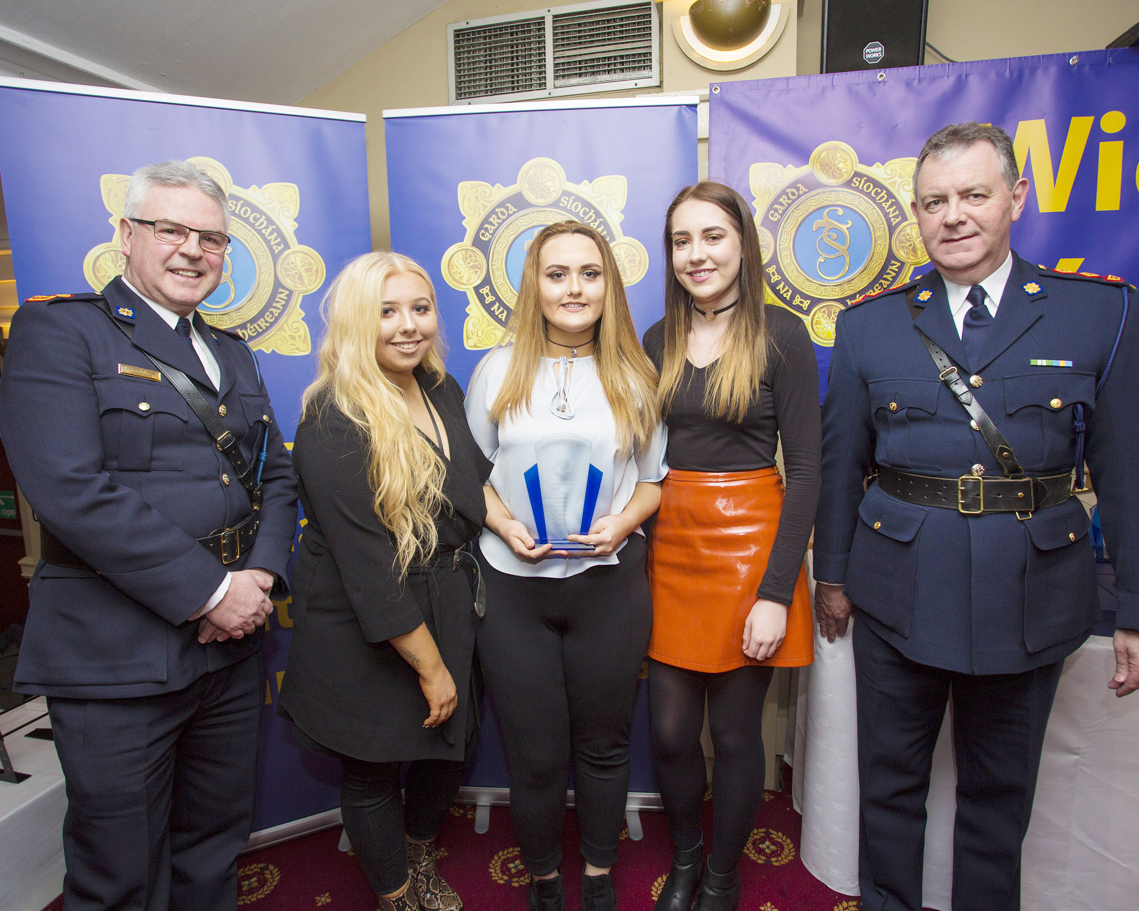 Sophie Burke, Sara Lawless and Haley Loughlin from Greystones recieve their youth award from Superintendant Pat Ward and Chief Superintendent John Quirke at the 2nd Annual Wicklow Garda Youth Awards which was held in the Grand Hotel, Wicklow Town.