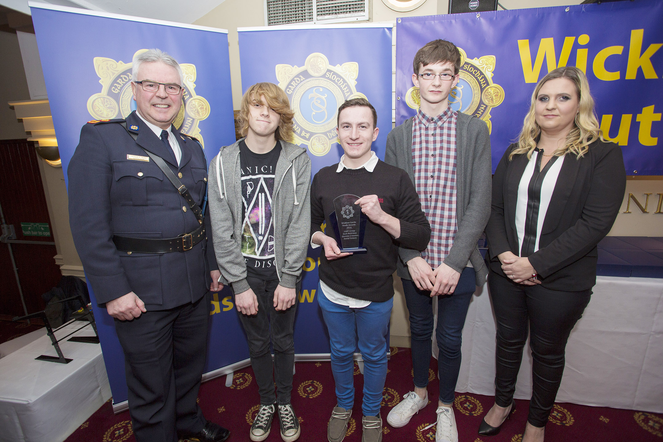 Zach McErlane, Quintin Crinnon and David Vickers from Bray recieve their youth award from Superintendant Pat Ward and Garda youth officer Emma Skinner at the 2nd Annual Wicklow Garda Youth Awards which was held in the Grand Hotel, Wicklow Town.