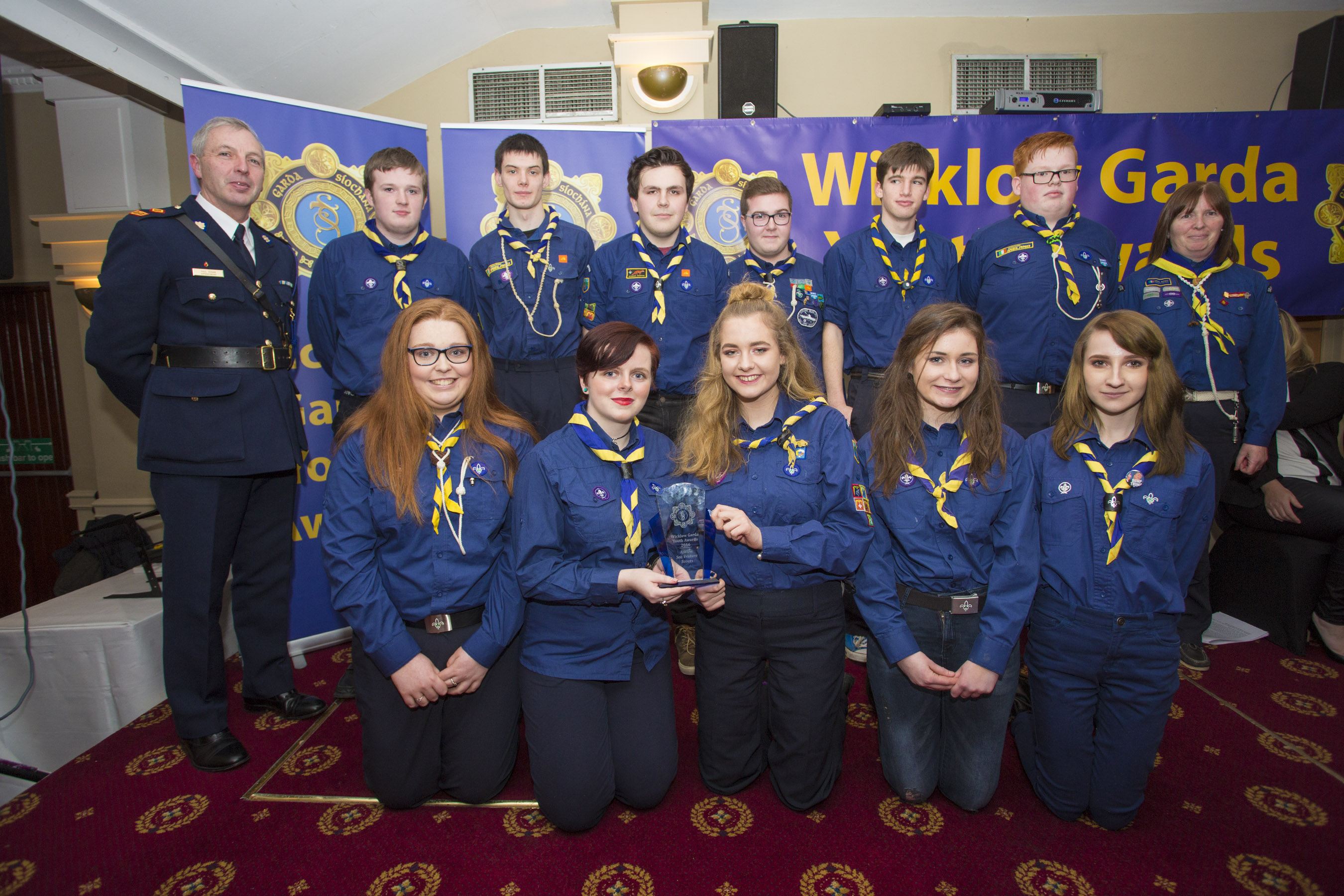 Members of the Arklow Sea Venture Scout Unit recieves their youth award from Superintendant Paul Hogan at the 2nd Annual Wicklow Garda Youth Awards which was held in the Grand Hotel, Wicklow Town.