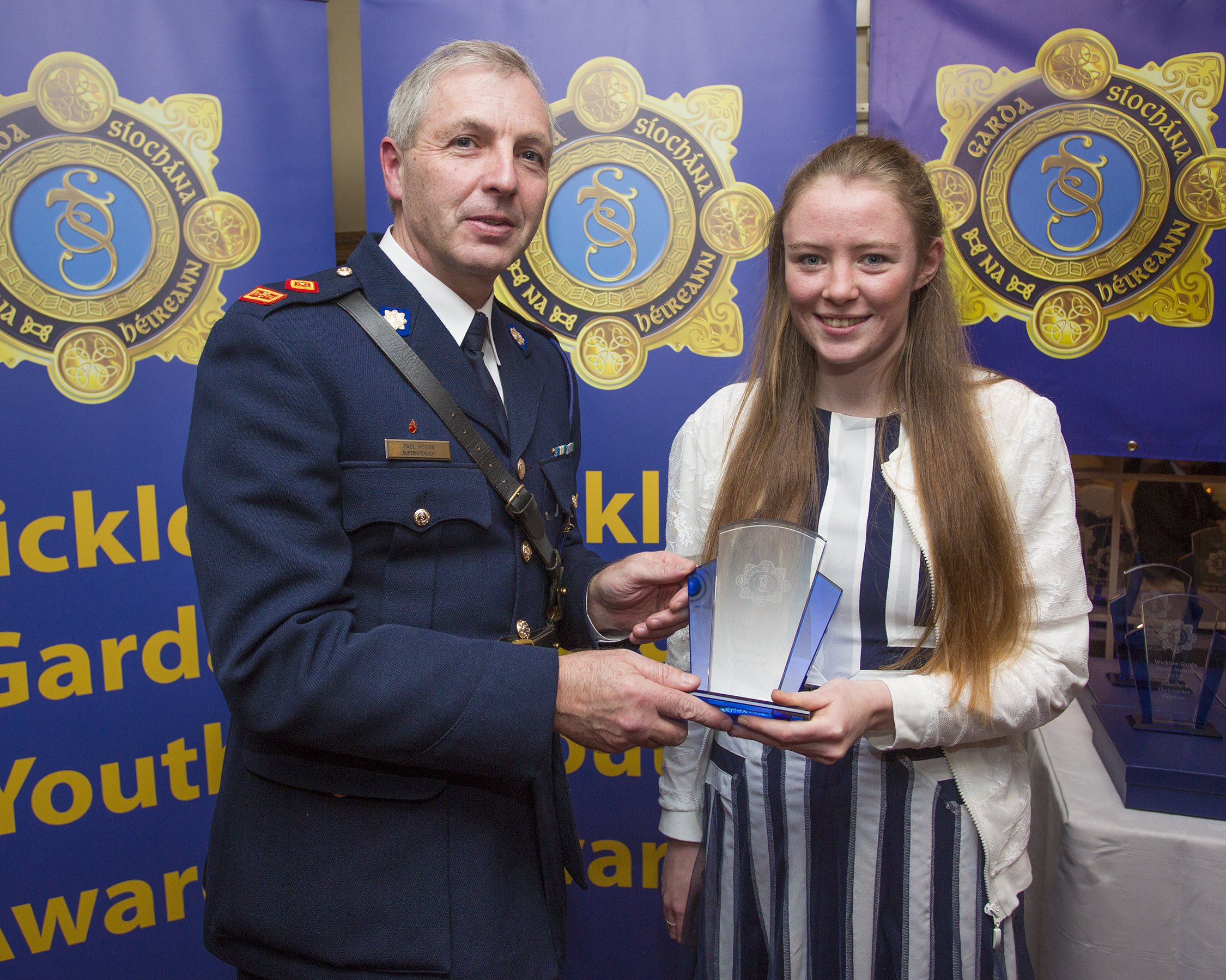 Martina Conyard from Arklow recieves her youth award from Superintendant Paul Hogan at the 2nd Annual Wicklow Garda Youth Awards which was held in the Grand Hotel, Wicklow Town.