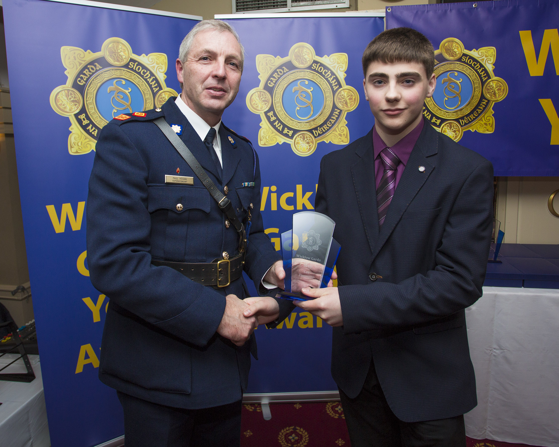 Lee Timmons from Roundwood recieves his youth award from Superintendant Paul Hogan at the 2nd Annual Wicklow Garda Youth Awards which was held in the Grand Hotel, Wicklow Town.