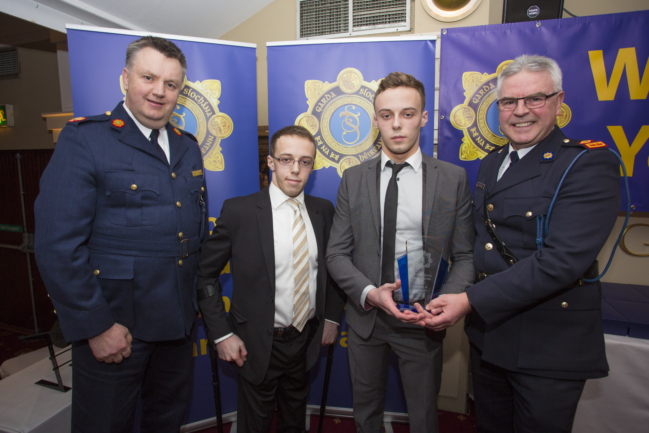 Timothy and Christopher Hopkins from Roundwood recieve their youth award from Assistant Chief Commisiner Fintan Fanning and Superintendant Pat Ward at the 2nd Annual Wicklow Garda Youth Awards which was held in the Grand Hotel, Wicklow Town.
