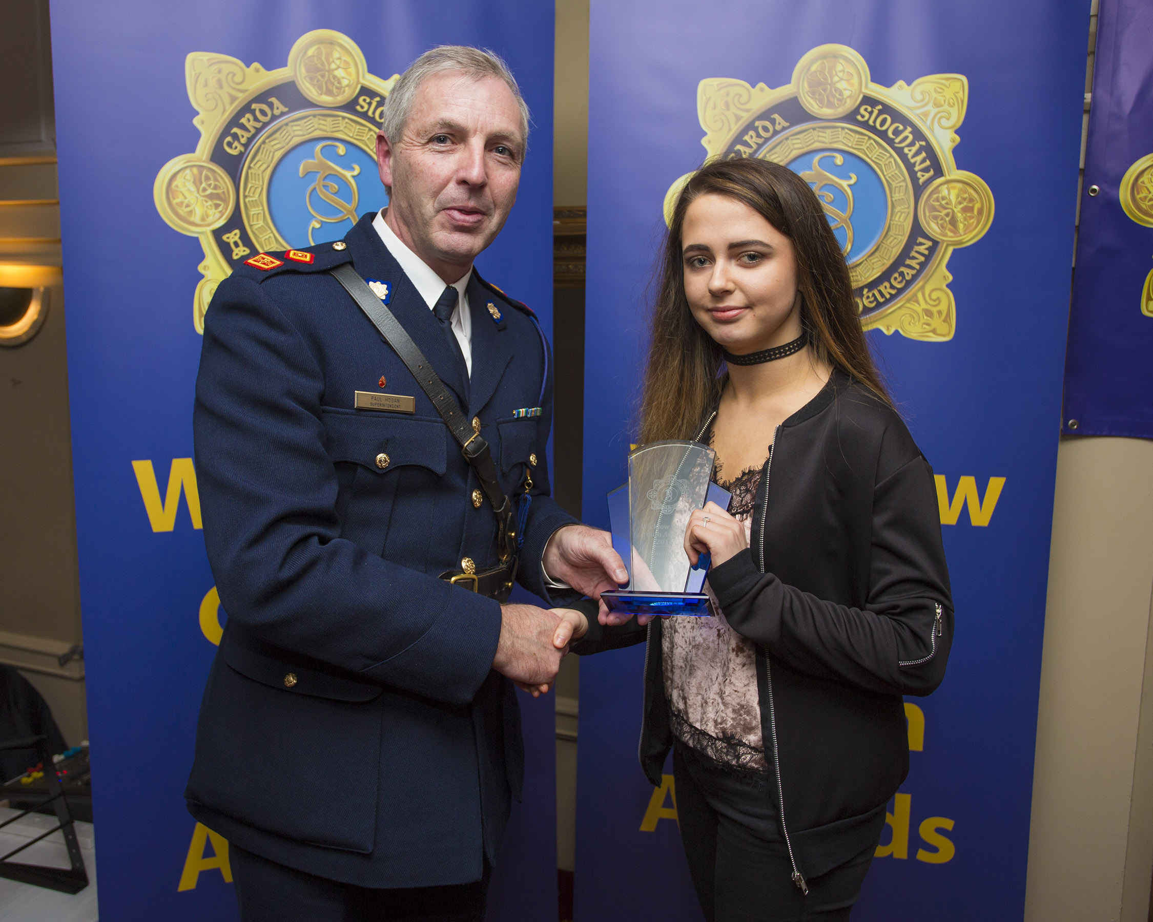 Shannon Franey from Glenealy recieves her youth award from Superintendant Paul Hogan at the 2nd Annual Wicklow Garda Youth Awards which was held in the Grand Hotel, Wicklow Town.