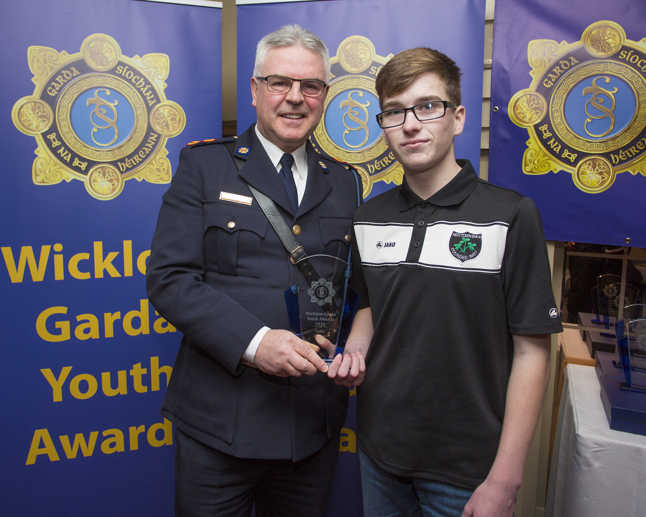 Luke Power from Newtown recieves his youth award from Superintendant Pat Ward at the 2nd Annual Wicklow Garda Youth Awards which was held in the Grand Hotel, Wicklow Town.