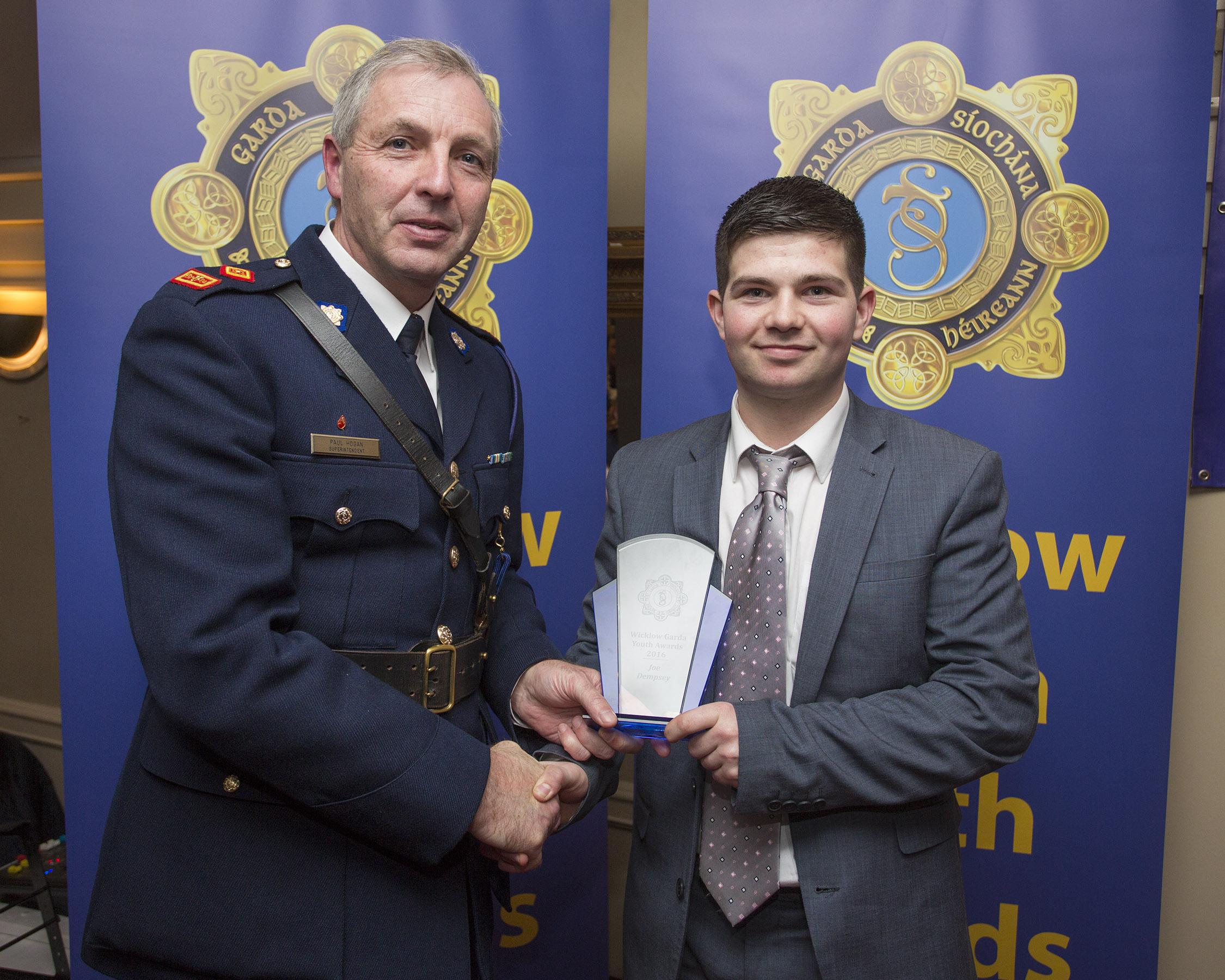 Joe Dempsey from Baltinglass recieves his youth award from Superintendant Paul Hogan at the 2nd Annual Wicklow Garda Youth Awards which was held in the Grand Hotel, Wicklow Town.