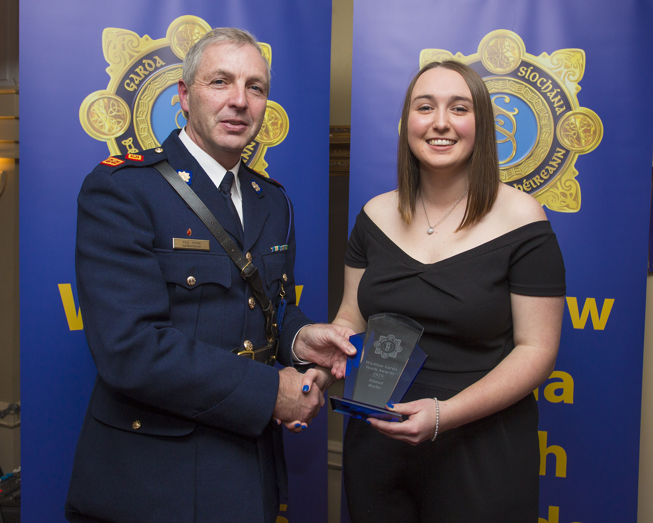 Sinead Roche from Kilcoole recieves her youth award from Superintendant Paul Hogan at the 2nd Annual Wicklow Garda Youth Awards which was held in the Grand Hotel, Wicklow Town.