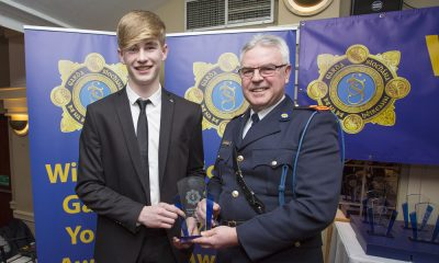 Jeremy O'Donovan recieves his youth award from Superintendant Pat Ward at the 2nd Annual Wicklow Garda Youth Awards which was held in the Grand Hotel, Wicklow Town.