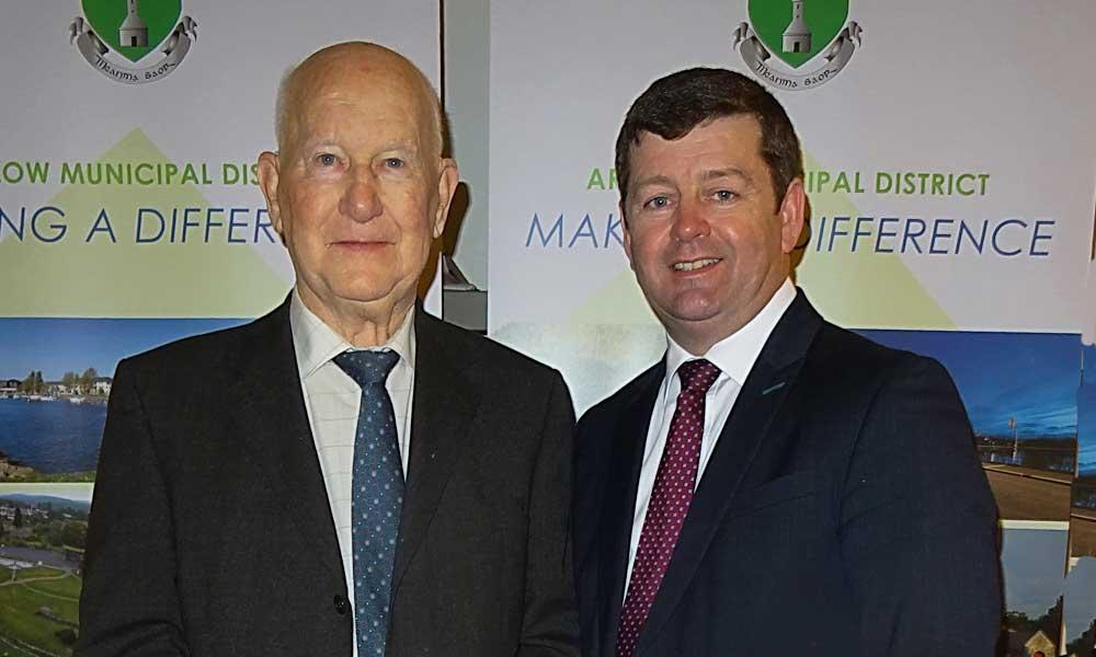 Jimmy Olohan with Arklow Municipal chairman Pat Kennedy (Pic.Sean Olohan)