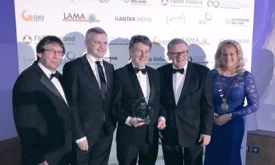 "L-R Cllr Albert Doherty from Donegal presenting the ""Best Connected Community"" Award for Bray.ie to David Forde, Administrator, Bray Municipal District;  Des O'Brien, Bray Municipal District Manager;  George Jones, Chairperson of sponsors, IPB Insurances, and Cllr Mags Murray, Chairperson, LAMA."