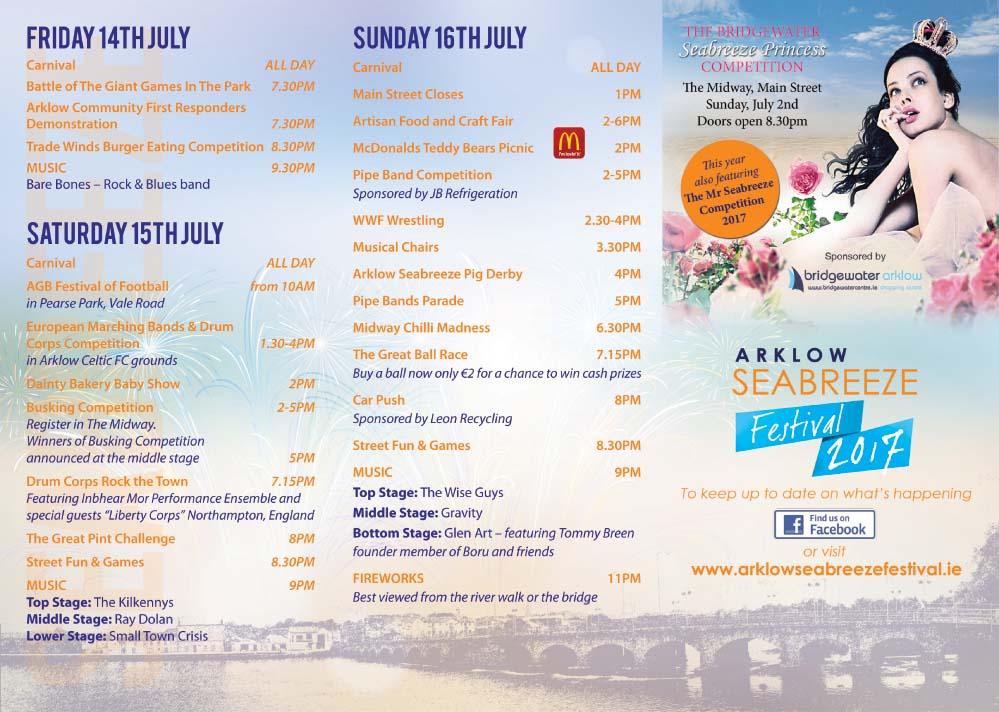 2017 Arklow Seabreeze Festival brochure Inside