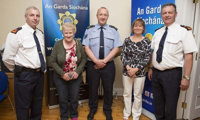 Superintendent Paul Hogan, Cllr Mary Kavanagh, Sergeant Colm Corrigan, Treasa Earls and Chef Superintendent John Quirke at the launch of the Wicklow Town Community Text Alert in Wicklow Garda Station