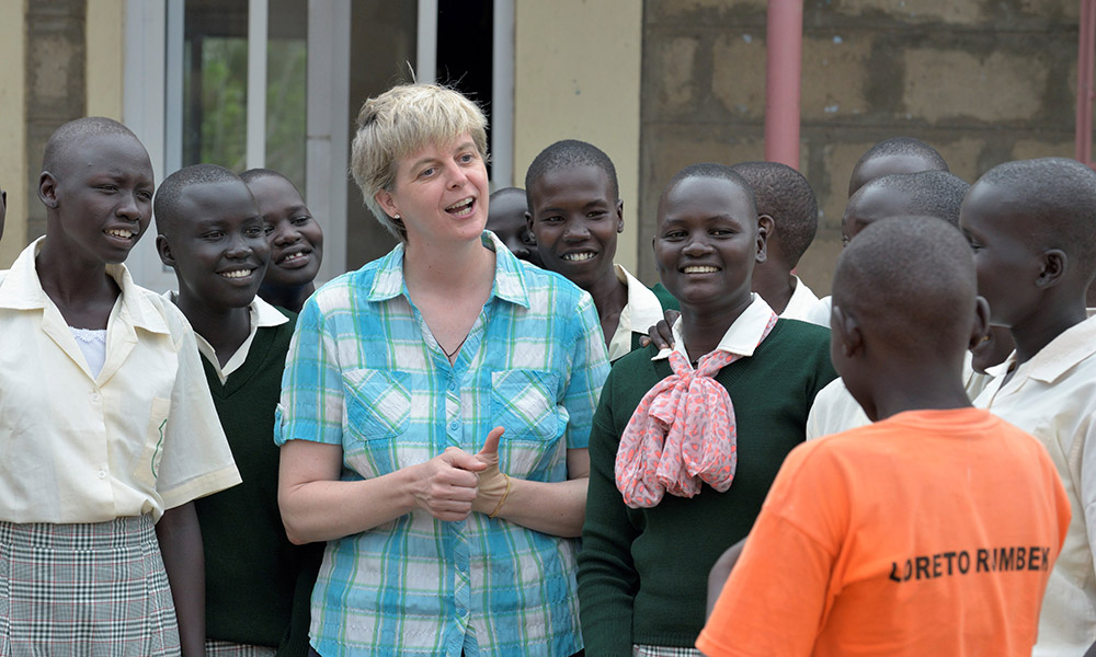 Loreto Sister Orla Treacy talks with girls at the Loreto Secondary School in Rumbek, South Sudan. Treacy is the school's principal. The school is run by the Institute for the Blessed Virgin Mary--the Loreto Sisters--of Ireland.