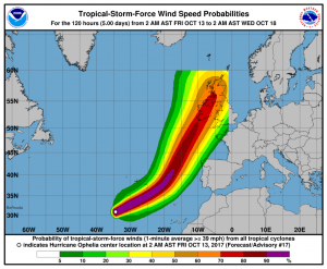 The latest track for Hurricane Ophelia (picture National Hurricane Centre)